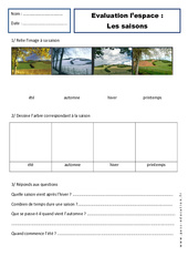 Saisons – Cp – Evaluation – Espace - Cycle 2