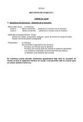 Préparation de réunion de parents - Réunions - Directeurs / Direction d'école