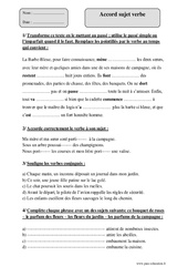 Accord sujet verbe – Cm2 – Exercices corrigés – Grammaire – Cycle 3
