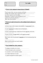 Verbe – Cm2 – Exercices corrigés – Grammaire – Cycle 3