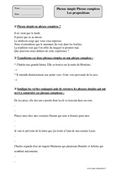 Phrase simple - Phrase complexe - Propositions – Cm2 – Exercices corrigés – Grammaire – Cycle 3