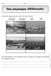 Paysages différents – Cp – Exercices  – Espace  – Cycle 2
