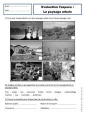 Paysages urbains – Evaluation – Cp  – Espace  – Cycle 2
