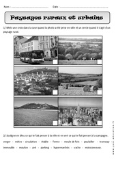 Paysages ruraux - Urbains - Exercices – Cp  – Espace  – Cycle 2