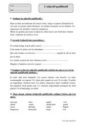 Adjectif qualificatif – Cm2 – Exercices corrigés – Grammaire – Cycle 3