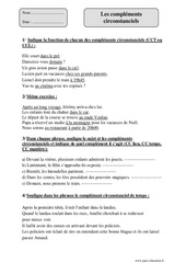 Compléments circonstanciels – Cm2 – Exercices corrigés – Grammaire – Cycle 3