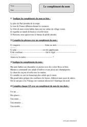 Complément du nom – Cm2 – Exercices corrigés – Grammaire – Cycle 3