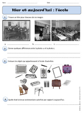 Ecole – Hier – Aujourd'hui – Cp – Exercices – Temps – Cycle 2