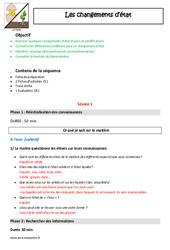 Changements d'état - Ce1 - Fiche de préparation - Séquence