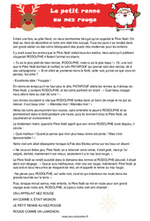 Le Petit Renne au Nez Rouge – Lecture compréhension de Noël – Cycle 3