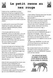 Le Petit Renne au Nez Rouge – Lecture compréhension de Noël – Cp – Ce1 – Cycle 2