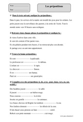 Prépositions – Cm2 – Exercices corrigés – Grammaire – Cycle 3
