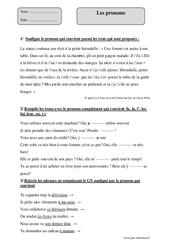 Pronoms – Cm2 – Exercices corrigés – Grammaire – Cycle 3