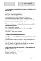 Verbe conjugué – Cm2 – Exercices corrigés – Grammaire – Cycle 3