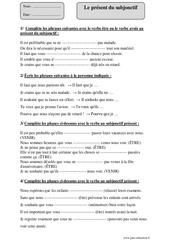 Present Du Subjonctif Cm2 Cycle 3 Exercice Evaluation Revision Lecon