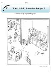 Electricité - Attention danger - Cp - Exercices - Matière - Découverte du monde - Cycle 2