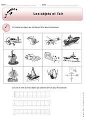 Objets - Air - Cp – Exercices – Matière – Découverte du monde – Cycle 2