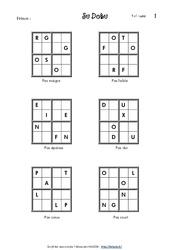 Sudoku des lettres - Ce1- Vocabulaire ludique - Français - Cycle 2