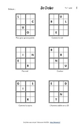 Sudoku des lettres – Cm2 – Vocabulaire ludique – Français – Cycle 3