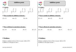 Addition posée - Ce1 - Exercices corrigés - Mathématiques - Cycle 2