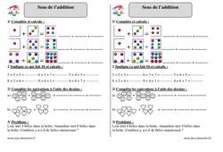 Sens de l'addition - Ce1 - Exercices corrigés - Mathématiques - Cycle 2