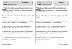 Problèmes – Ce1 – Exercices corrigés – Calcul - Mathématiques – Cycle 2
