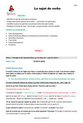 Sujet du verbe – Cm1 – Fiche de préparation