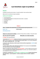 Fonctions sujet et prédicat – Cm1 – Fiche de préparation