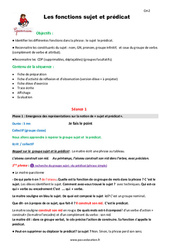 Fonctions sujet et prédicat – Cm2 – Fiche de préparation
