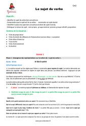 Sujet du verbe – Cm2 – Fiche de préparation