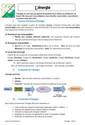 Energie – 6ème – Cours