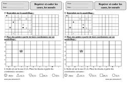 Repérer, coder cases nœuds – Ce1 – Exercices corrigés – Géométrie – Cycle 2