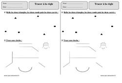 Tracer à la règle – Ce1 – Exercices corrigés – Géométrie – Cycle 2