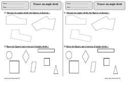 Tracer un angle droit - Ce1 - Exercices corrigés - Géométrie - Cycle 2