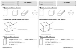 Solides - Ce1 - Exercices - Géométrie - Cycle 2