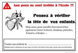 Affiche poux – Affichages pour la classe – Maternelle – PS – MS – GS