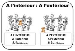 Intérieur – Extérieur – Affichages pour la classe – Maternelle – PS – MS – GS