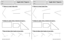 Angle droit - Equerre  – Ce1 – Exercices corrigés – Géométrie – Cycle 2
