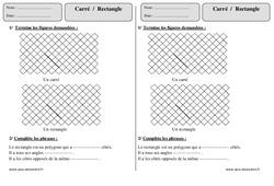 Carré – Rectangle  – Ce1 – Exercices corrigés – Géométrie – Cycle 2