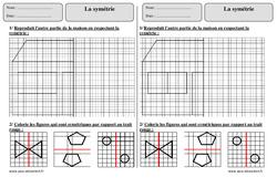 Symétrie – Ce1 – Exercices corrigés – Géométrie – Cycle 2