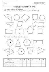 Polygones - Nombre de côtés – Ce1 – Exercices corrigés – Géométrie – Cycle 2