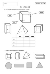 Solides – Ce1 – Exercices corrigés – Géométrie – Cycle 2