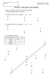 Points alignés – Ce1 – Exercices corrigés – Géométrie – Cycle 2