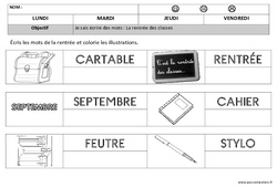 Rentrée – Ecriture – Maternelle – Petite section – Moyenne section – Cycle 1