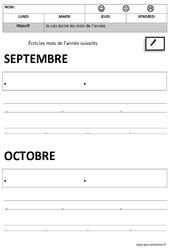 Mois de l'année – Ecriture – Maternelle – Petite section – Moyenne section – Cycle 1