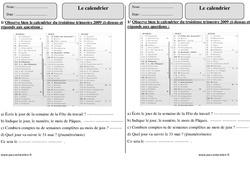 Calendrier – Ce1 – Exercices corrigés – Mesures – Mathématiques – Cycle 2