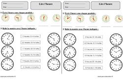Lire l'heure – Ce1 – Exercices corrigés – Mesures – Mathématiques – Cycle 2