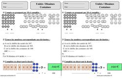 Unités - Dizaines- Centaines – Ce1 – Exercices corrigés – Numération – Mathématiques – Cycle 2