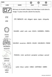 Eté – Lire les mots – Lecture – Maternelle – Petite section – Moyenne section – Cycle 1