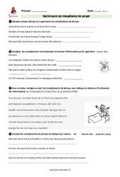 Compléments de phrase – Cm2 – Exercices à imprimer